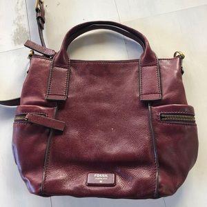 Maroon Fossil leather crossbody bag
